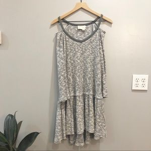 Saturday Sunday Cold Shoulder Grey Ruffle Dress